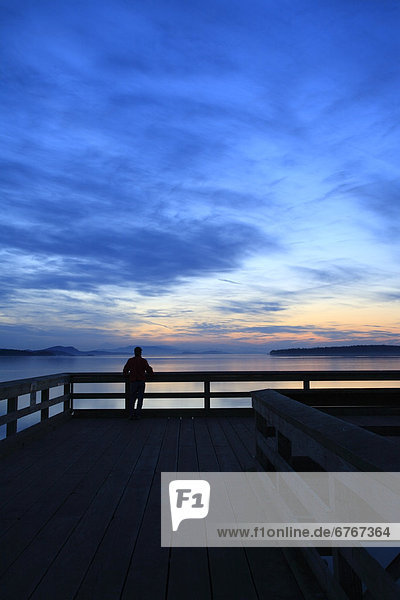 Person on fishing pier at dawn  Sidney  British Columbia