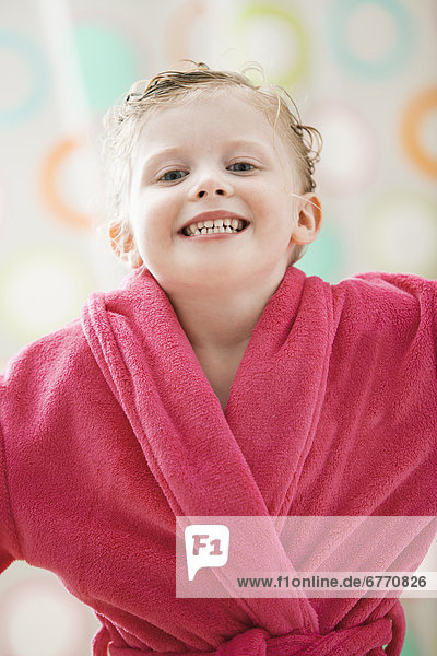 USA  Utah  Lehi  portrait of girl (2-3) wrapped in bathrobe
