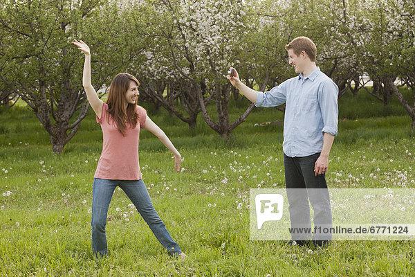 Vereinigte Staaten von Amerika  USA  Frau  Mann  fotografieren  jung  Obstgarten  Utah
