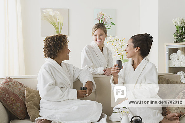 Three women relaxing in spa