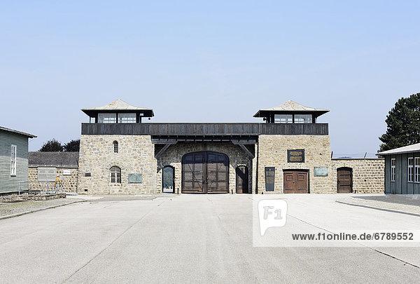 Gate of the Mauthausen concentration camp  Perg  Upper Austria  Austria  Europe