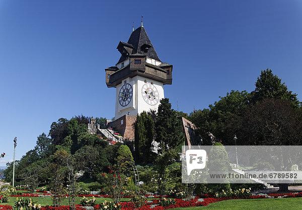 Graz Clock Tower on Schlossberg Mountain  Graz  Styria  Austria  Europe