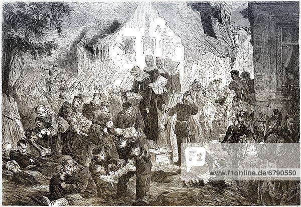 Historische Zeichnung  Versorgung der Verletzten im Feldlazarett in Rezonville  Frankreich  nach Schlacht bei Gravelotte am 16. August 1870  Deutsch-Französischer Krieg von 1870 - 1871 zwischen dem Kaiserreich Frankreich und dem Königreich Preußen