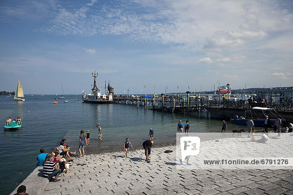 At the harbour entrance of Konstanz  Lake Constance  Baden-Wuerttemberg  Germany  Europe  PublicGround
