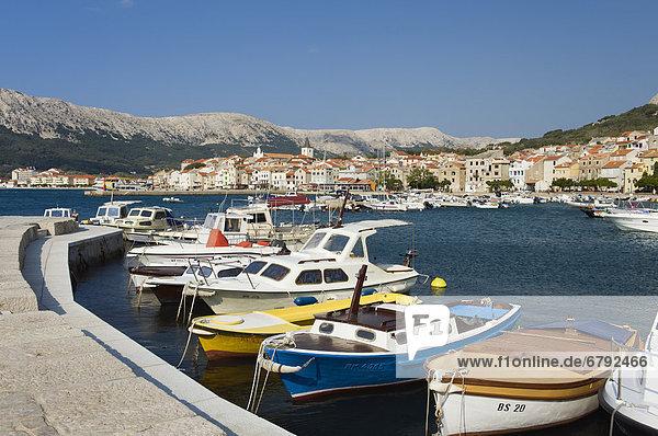 Boats in the harbour of Baska  Krk Island  Adriatic Sea  Kvarner Gulf  Croatia  Europe