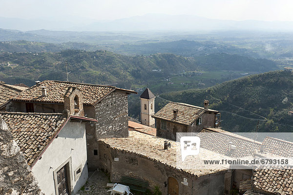 View over the rooftops of the old town from Monte Celeste on a painter's landscape  Olevano Romano  Lazio  Italy  Europe