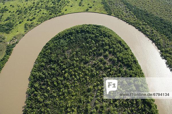 Wami River  Flussbiegung  Luftaufnahme  Bagamoyo  Pwani Region  Tansania  Afrika