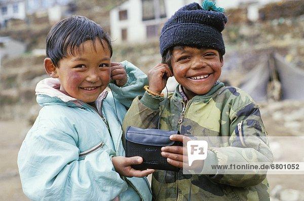 Children Being Playful  Namche Bazaar  Solo Khumbu Region  Nepal
