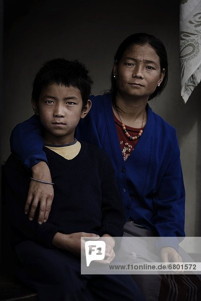 Pokhara  Nepal  Mother And Son