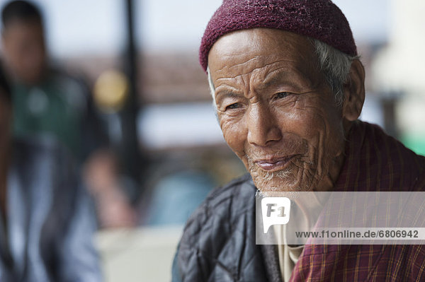 Portrait Of Senior Bhutanese Man  Thimphu Bhutan