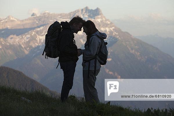 sehen  Silhouette  wandern  Leysin  Schweiz