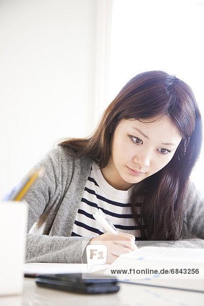 Frau  Schreibtisch  lernen  jung