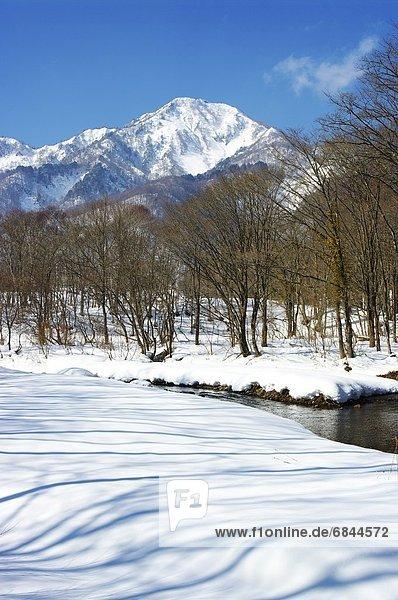 Berg  Winter  Fluss  Nagano  Japan