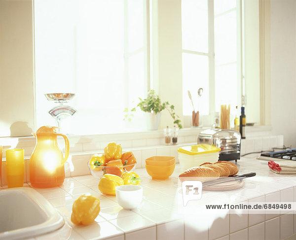 Brot  gelb  Küche  Glocke  Tresen  aufgeschnitten