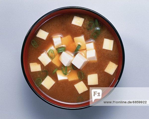 Tofu  Stück  Misosuppe  japanisch  Suppe