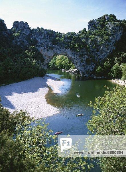 Felsbrocken Frankreich über Anordnung Fluss Brücke Form Formen