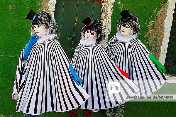 Mensch  Menschen  verhüllen  Insel  Karneval  Maske  Burano  Italien  Venedig