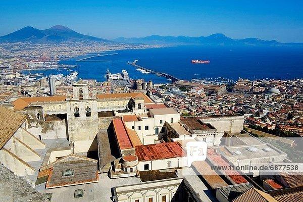 Italy  Campania  Naples  View from Castel Sant Elmo on Cortosa di San Martino  harbour and Vesuvio