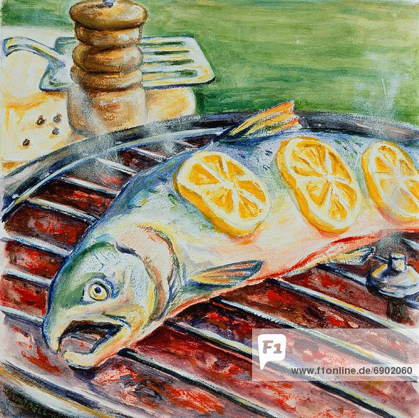 Fisch  Pisces  Illustration  Grillparty