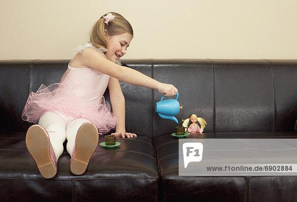 Party  Mädchen  spielen  Tee