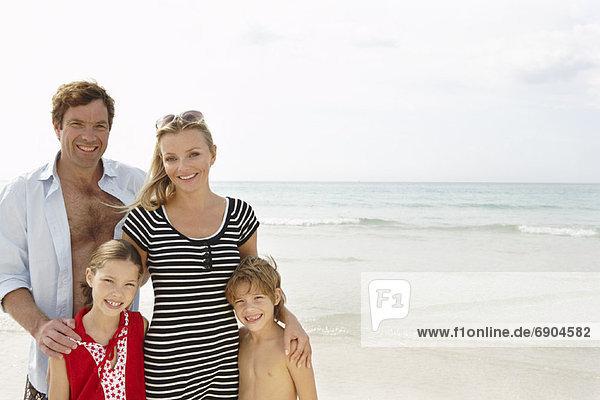 Portrait of Family on Beach  Majorca  Spain