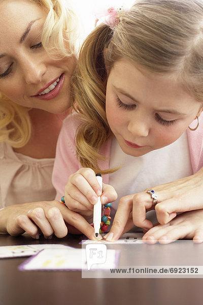 Zeichnung  Mädchen  Mutter - Mensch