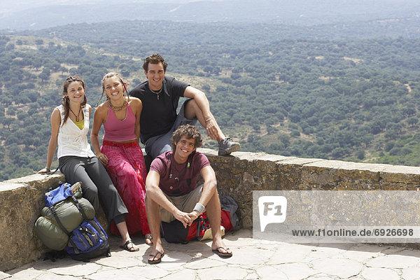 Portrait of Backpackers  Spain