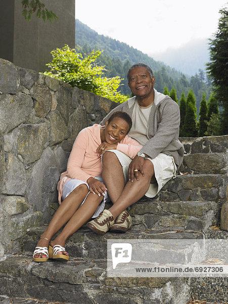 Portrait of Couple on Stone Steps