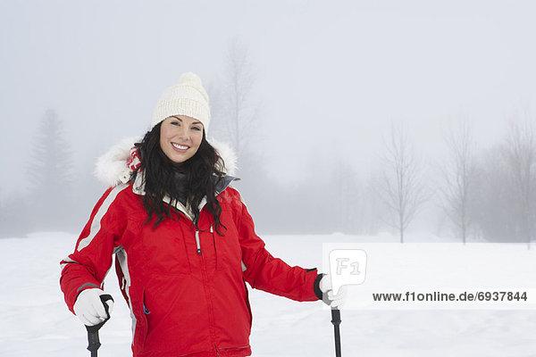 Woman Skiing  Meadow Park  Whistler  British Columbia  Canada