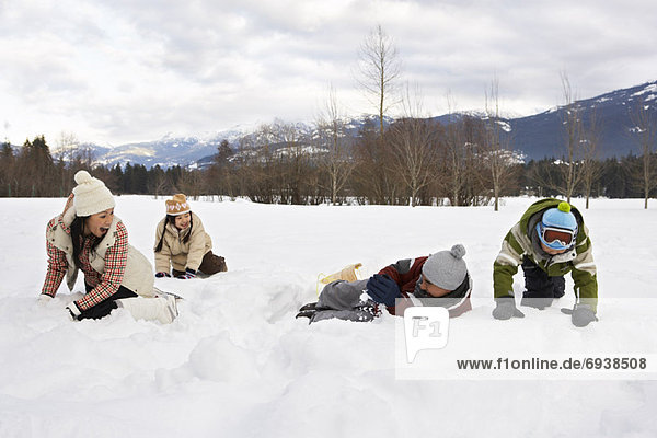 Family Playing in Snow  Whistler  British Columbia  Canada
