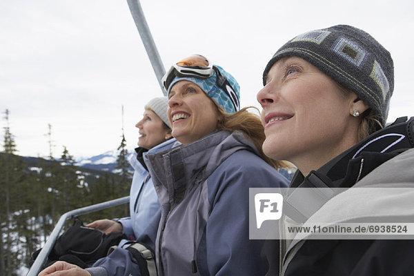Women on Ski Lift  Whistler  BC  Canada