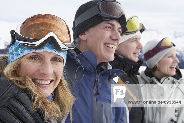 Portrait of People Wearing Ski Googles  Whistler  BC  Canada
