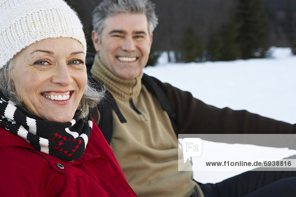 Portrait of Couple Outdoors in Winter