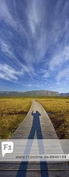 Shadow of Photographer on Boardwalk  Western Brook Pond  Gros Morne National Park  Canada