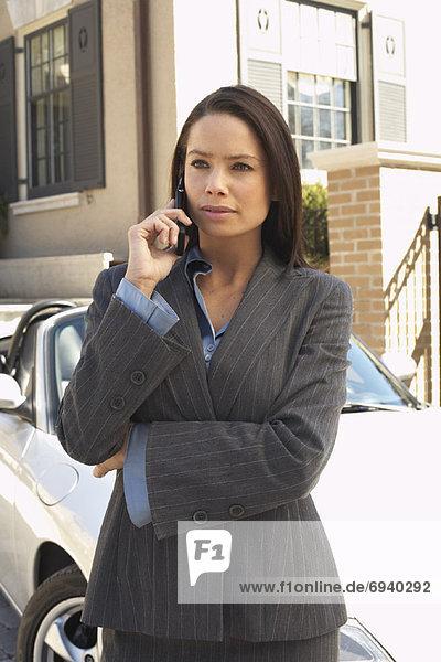 Handy Geschäftsfrau Cabrio Fahrweg
