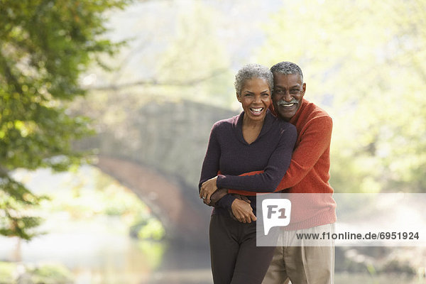 Portrait of Couple in City Park  New York City  New York  USA