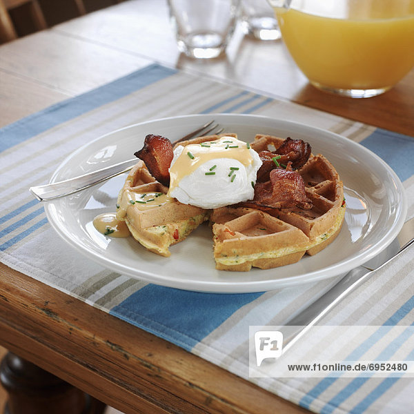Waffles and Eggs Benedict