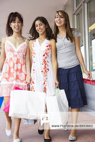Portrait of Girls with Shopping Bags