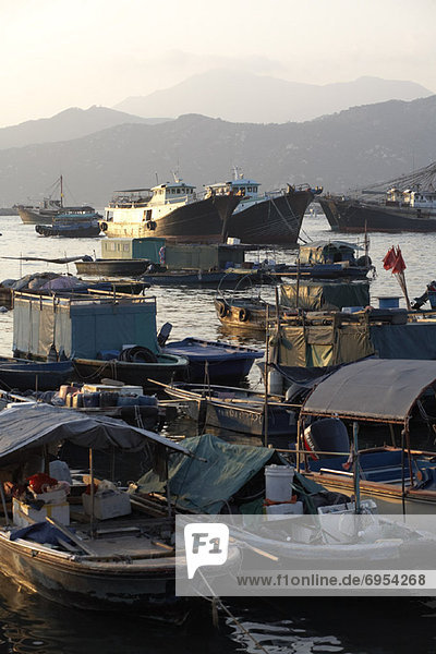 Overview of Boats in Harbor  Cheung Chau  China