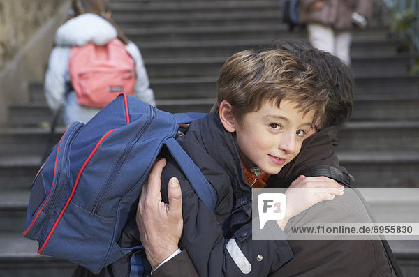 Father Dropping Son Off at School  Paris  France