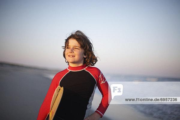 Portrait of Surfer  Ocracoke Island  Cape Hatteras  North Carolina  USA