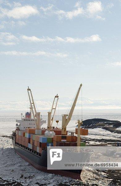 Schiff  abladen  Geräusch  Ladung  Antarktis