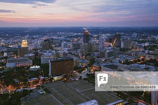 San Antonio Skyline at Dusk  Texas  USA
