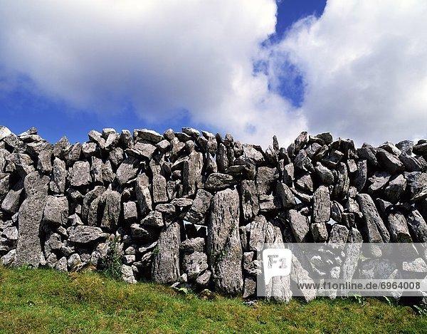 Steinmauer frontal Gras Clare County Burren