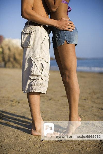 Couple Kissing on the Beach  Corona del Mar  Newport Beach  California  USA