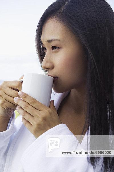 Portrait  Frau  Morgen  trinken  Kaffee