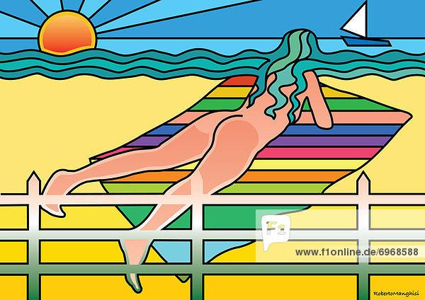 Frau  Strand  sonnenbaden  sonnen  Illustration  nackt