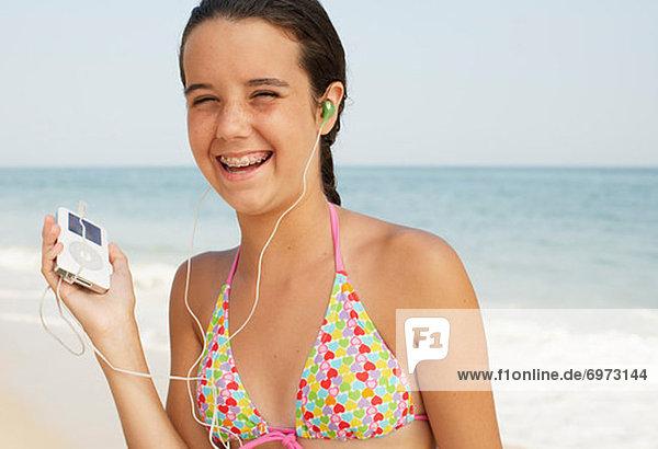 Strand  Spiel  MP3-Player  MP3 Spieler  MP3 Player  MP3-Spieler  Mädchen