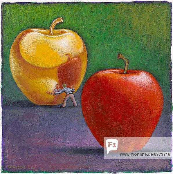 Mann sehen Illustration Spiegelung rot Fokus auf den Vordergrund Fokus auf dem Vordergrund