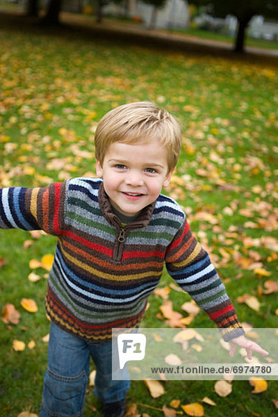 Little Boy in Park in Autumn  Portland  Oregon  USA